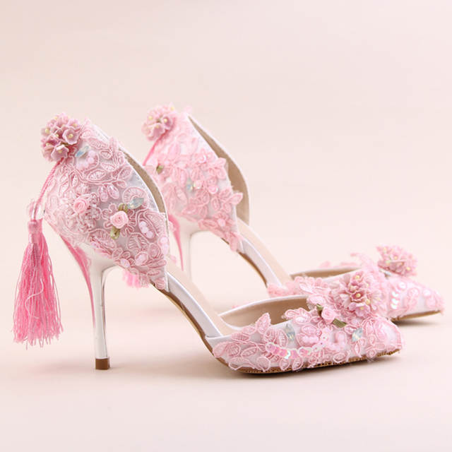 ead68d3256 US $63.83 16% OFF|2018 Purple Red Pink Color Beautiful Wedding Shoes  Delicate Paillette High Heels Tassel Decoration Party Prom Pumps Pointed  Toe-in ...