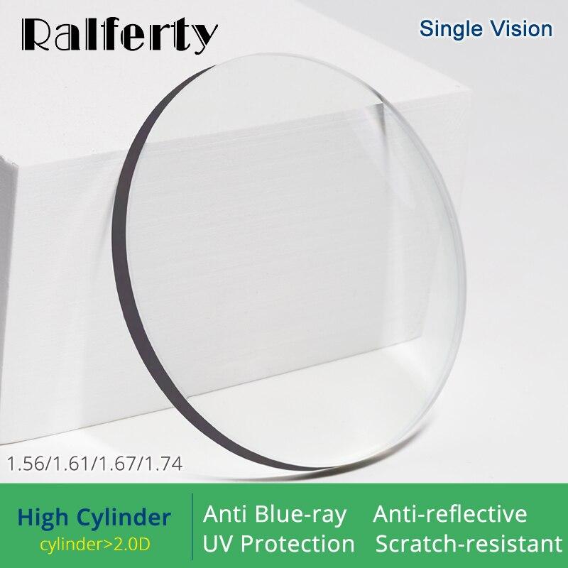 Ralferty (cilindro alto) 1.56 1.61 1.67 1.74 lentes ópticas anti luz azul prescrição óculos lente olhos claro diopter lentes