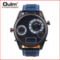 Oulm brand led digital with dual time zone quartz PC21S movt big dial watches for men HP3581