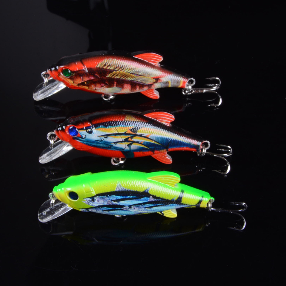 3pcs//bag Lot Kinds of Fishing Lures Crankbaits Hooks Minnow Baits Tackle