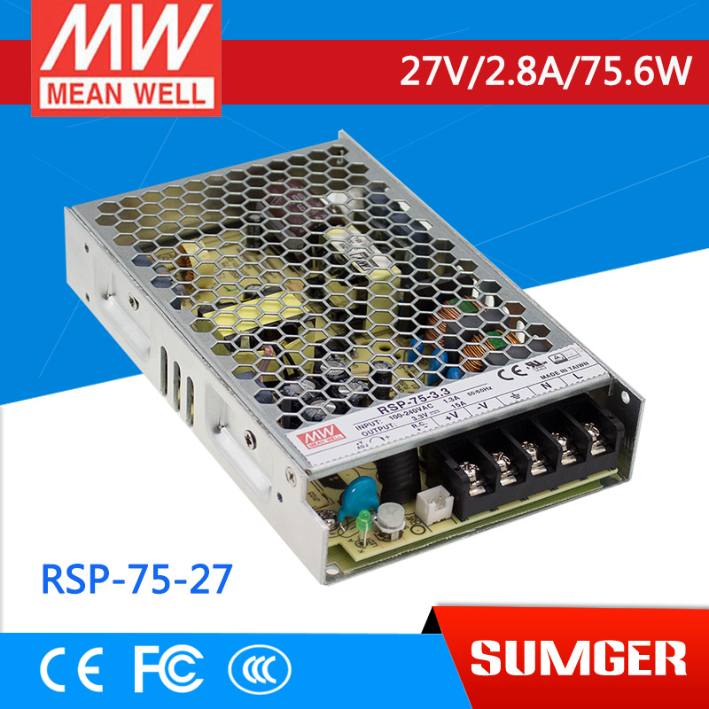 ФОТО [Sumger1] MEAN WELL original RSP-75-27 27V 2.8A meanwell RSP-75 27V 75.6W Single Output with PFC Function Power Supply