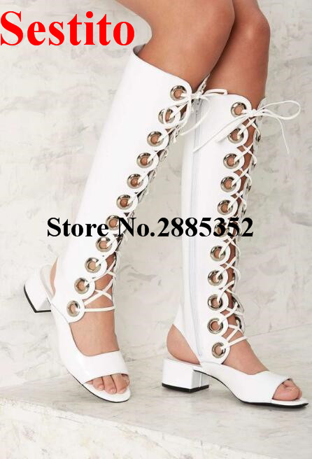 Sestito Hot Hollow Out Summer Women Boots Shoes Fashion Peep Toe Chunky Heels Cross-tied Metal Decoration Knee High Womens Shoes leisure women s peep toe shoes with hollow out and chunky heel design