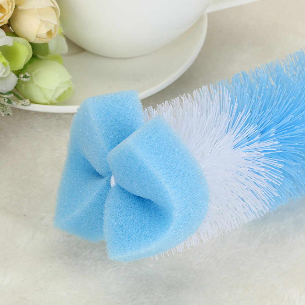 Venta caliente 2 piezas botella de cepillo limpiador pico taza tetera de vidrio lavado herramienta de limpieza de cepillo de pelo secador de botella pequeña de la botella cepillo # YY