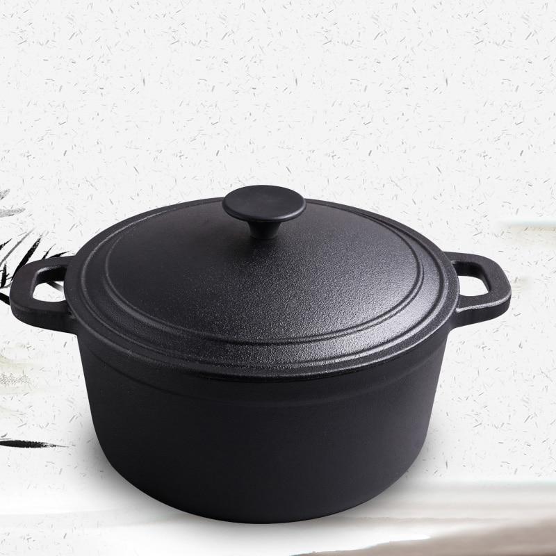 Vintage Cast Iron Stew Pot Home Soup Traditional Dutch Pot