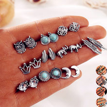 Bohemian jewelry earrings European and American style crown inlaid crystal elephant leaves owl 10 pairs of set earrings(China)
