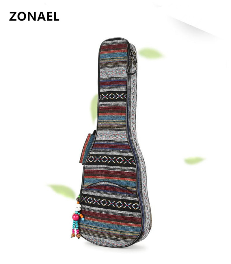 ZONAEL 21 23 26 Inch Double Strap Hand Folk Canvas Ukulele Carry Bag Cotton Padded Case For Ukulele Guitar Parts National Style purple color carry bag for 7 8 hand held crystal singing bowls with heavy duty canvas carrier