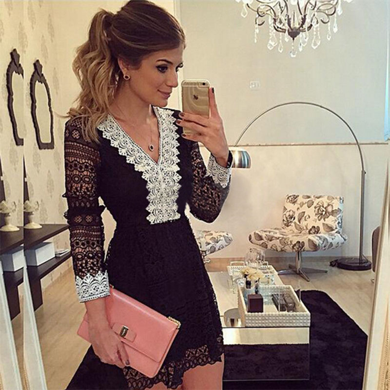 2018 New Fashion Women A -Line Dress Sexy Black Hollow Out Lace Dresses Casual Long Sleeve Mini Dess