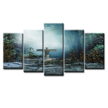 5 Pieces Print Wall Art Garden view series Canvas Painting for Living Room Decor Framed /Abstract-5 (2)