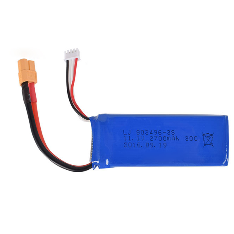 11.1v 2700mah 30c 803496 Lipo Battery XT60 Plug CX20 V303 V393 WL913 2.4G RC racing boat aircraft 3S High power lithium polymer(China)