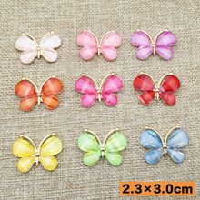 Wholesale 2.3x3cm butterfly resin flatback Button embellishment Mixed Color Fit Sewing Scrapbooking Apparel accessories