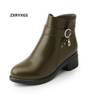 ZXRYXGS Brand Shoes Woman Ankle Boots 2018 Newest Autumn Winter Thick Heel Shoes Genuine Leather Shoes Women Boots Plus Size 43