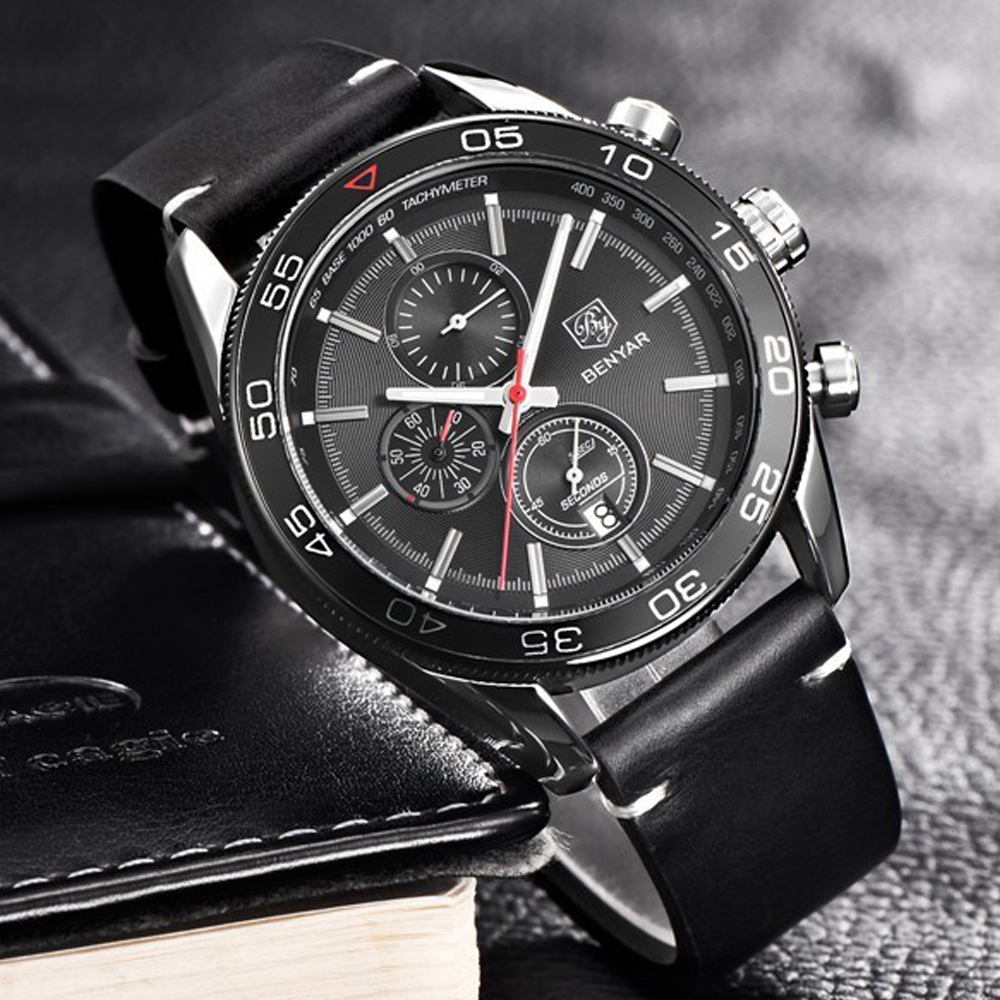 BENYAR Fashion Business Men Luxury Brand Quartz Watch Mens Waterproof Sport Chronograph Watches relogio masculino Clock Male benyar watch mens luxury brand quartz blue watches fashion business male leather wristwatch waterproof clock relogio masculino