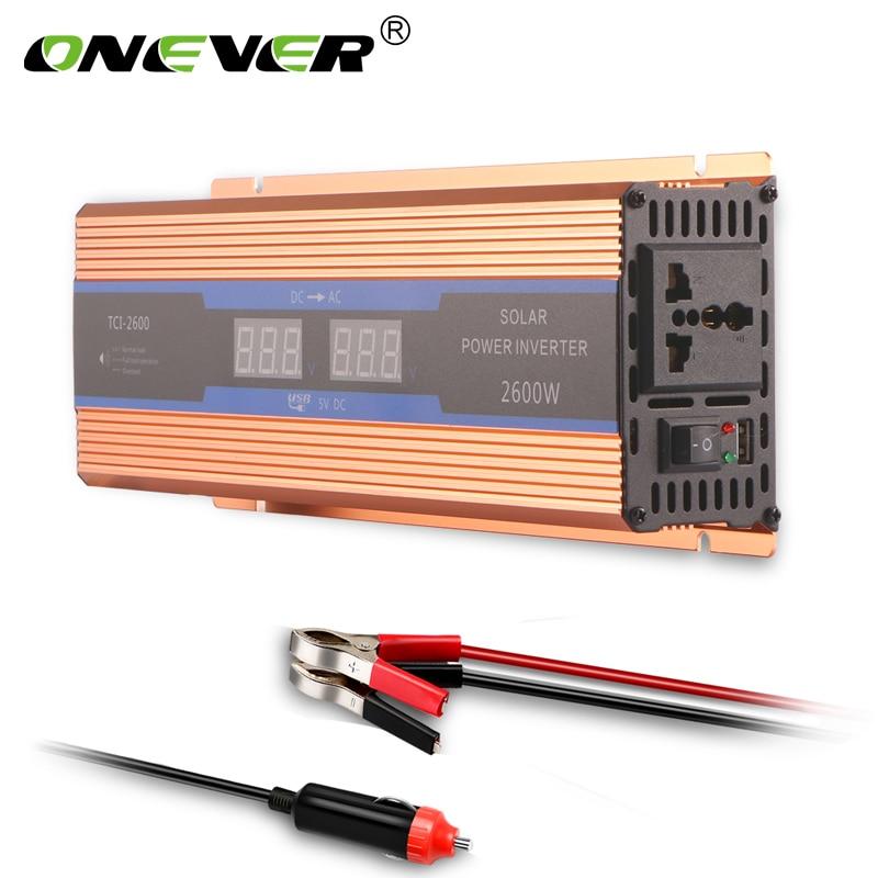Onever 2600W Car Inverter 12v 220v 50Hz EU Outlet 12v 220v Auto Inverter 12 220 Car