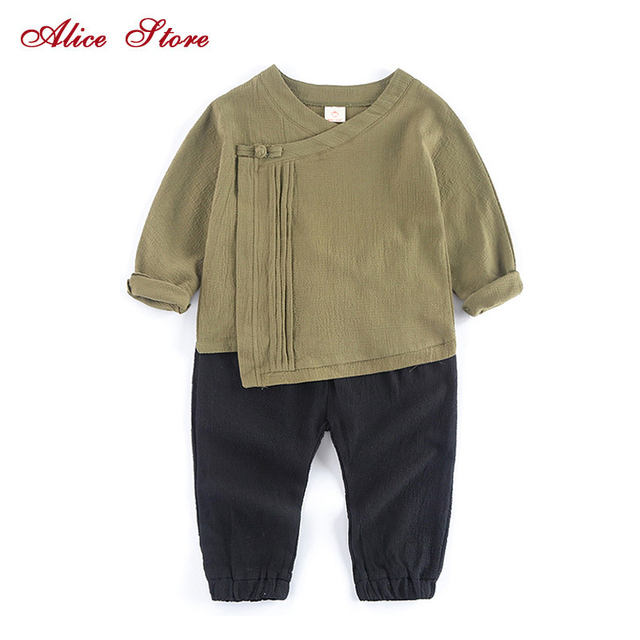 c0c1d57b68 Boys Clothing Sets 2018 New Chinese Style V-collar Linen Button Long Sleeve  Top+ Pants