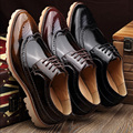 male pointed toe lace up business brogue shoes british style trend carve vintage polished pu casual oxfords shoes for men