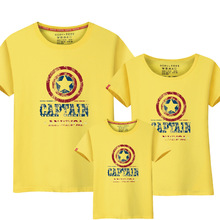 1pcs Family Look  Casual American Captian Design T Shirts Summer Family Matching Cloth Father Mother Kids Outfit Cotton Tees