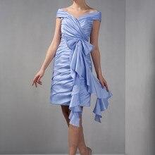 Vestido corto hasta la rodilla de lavanda con hombros descubiertos de Madre de la novia vestidos informales fruncido Vintage tafetán vestidos de fiesta de boda Reino Unido