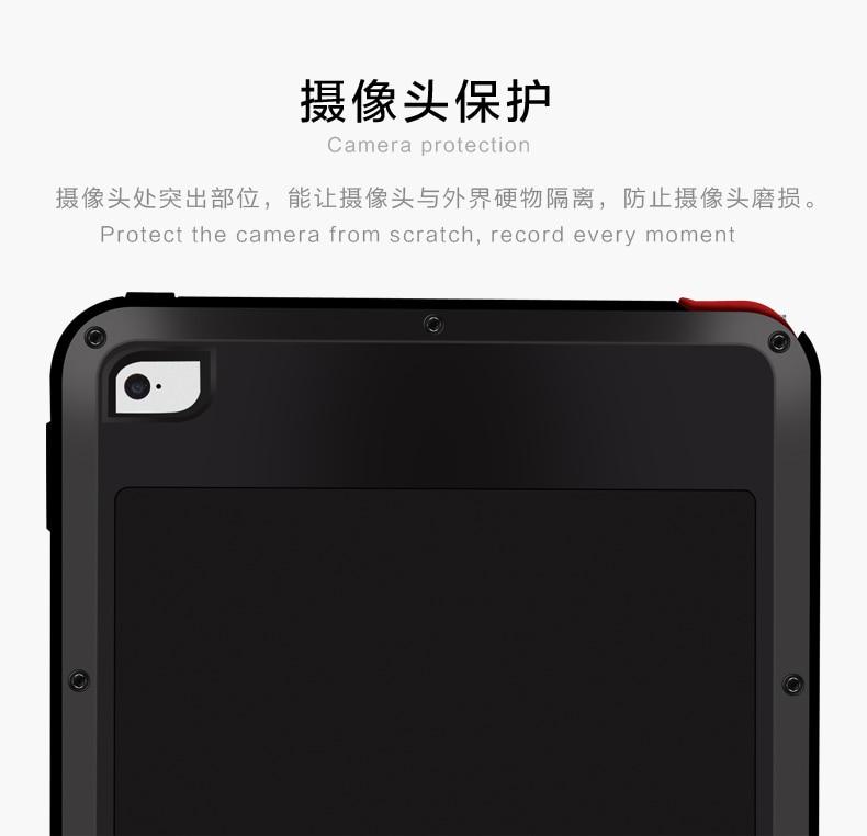 Amor Mei potente a prueba de golpes a prueba de aluminio de la cubierta del caso para Apple iPad aire/aire 2/Mini/2/3/4/5/6/CaseHeavy w/gorila Vidrio Templado - 5