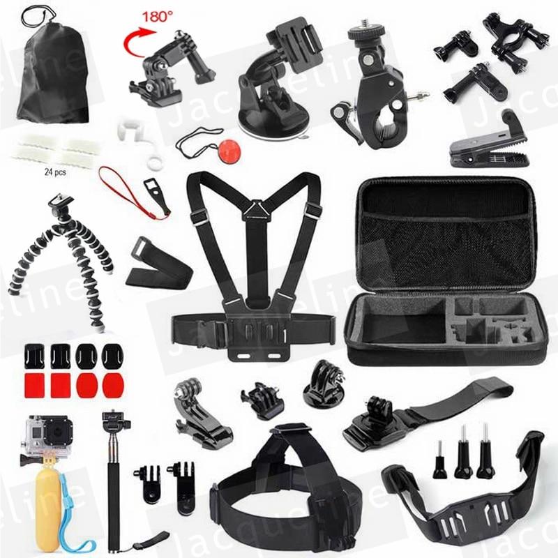 For SJCAM Chest Strap Head Mount Monopod Accessories Kit Case for GoPro Go pro hero 5