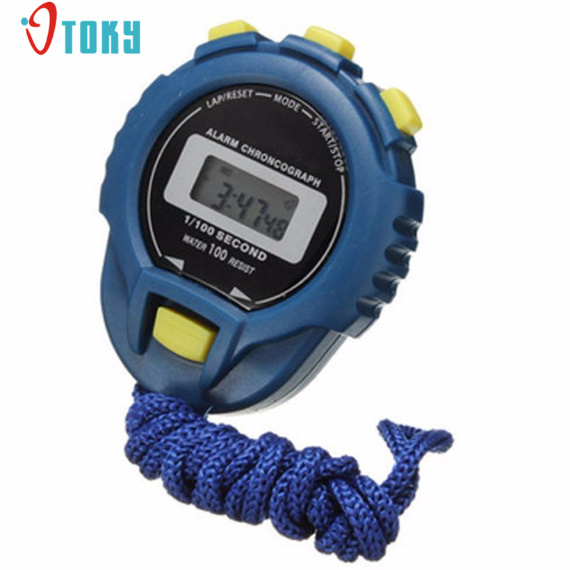 OTOKY Fashion LCD Chronograph Digital Timer Stopwatch Sport Counter Odometer Watch Alarm Sports Watch 90 260v ac dc digital timer 4 digit display alarm clock countdown time counter chronograph relay output 1 alarm