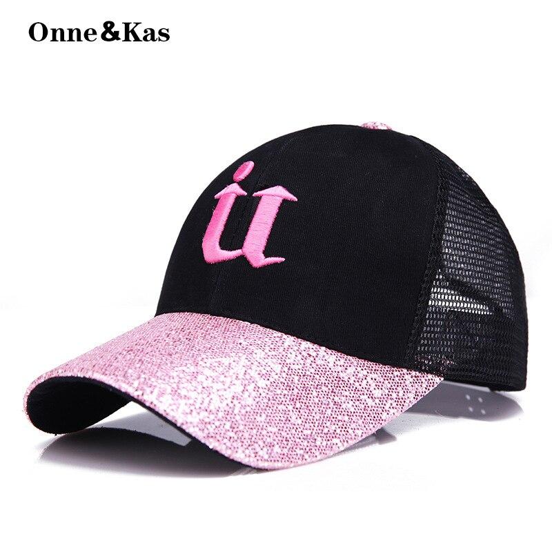 2018 Neue U Wort Glitter Baseball Cap Mesh Hut Frauen Snapback Hip Hop Caps Weibliche Pailletten Glanz Sommer Hüte Mesh Outdoor Hut Harmonische Farben