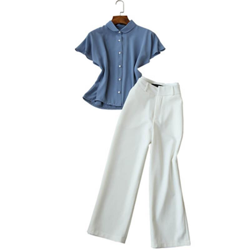 Fashion pants suit female summer New high quality Casual chiffon shirt top White eight leg wide