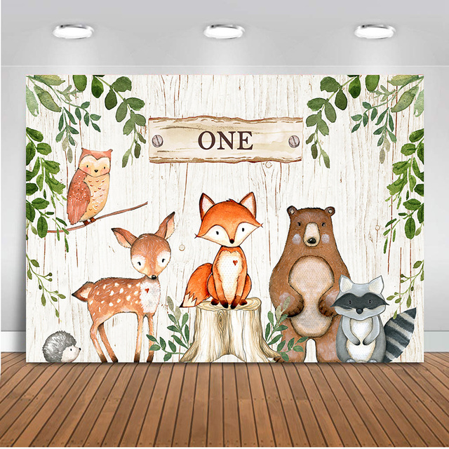 Wild One Background for Photo Studio Newborn Baby Shower Woodland Party Backdrop Decoration Banner Dessert Table Background
