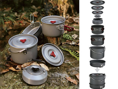 6-8 Persons Cooking Pot Set Be Cocina Outdoor Cutlery Pot Sets Panelas Camping Cooking Set Cookware Picnic Fire Maple FMC-212 fire maple portable titanium flagon outdoor sake set camping wine pot with cup travel drinkware fmc 1703002 fmc 1703003