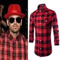 Hip hop dos homens camisa xadrez de manga comprida camisas homem longo vermelho e preto casuais camisa camisa masculina