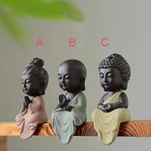Керамическая миниатюрная фигурка Будды, набор из 3 предметов статуэтки Будды Гуаньинь сказочные Садовые принадлежности террариум