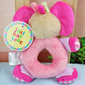 1Pcs Elephant Hand Bell Ring Rattles Toys Plush Doll Gifts Decor For Baby Pink