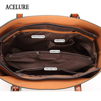 ACELURE Women bag Oil wax Women's Leather Handbags Luxury Lady Hand Bags With Purse Pocket Women messenger bag Big Tote Sac Bols 5