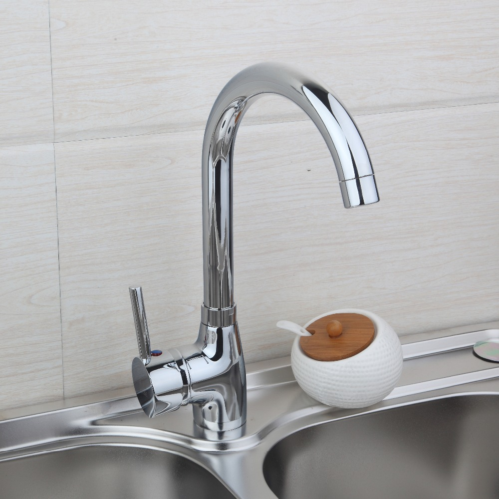 Kitchen Faucet Single Handle for Kitchen Sink Mixer Tap Chrome Finish 360 Swivel Hot Cold Water