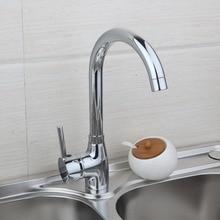 Смеситель для кухни Одной ручкой для кухонной мойки смесители хромированная отделка 360 поворотный горячей и холодной воды смесителя