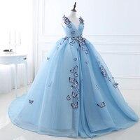 Long Evening Dress 2019 V Neck Sleeveless Handmade Butterfly aArabic Ribbons Sky Blue Tull Formal Evening Gowns Saudi Arabia