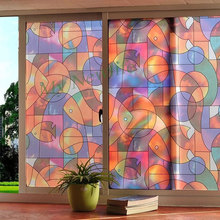 Art colorful fish Frosted window film glass sticker Stained self-adhesive kitchen door decorative films home decor 45/60*500cm
