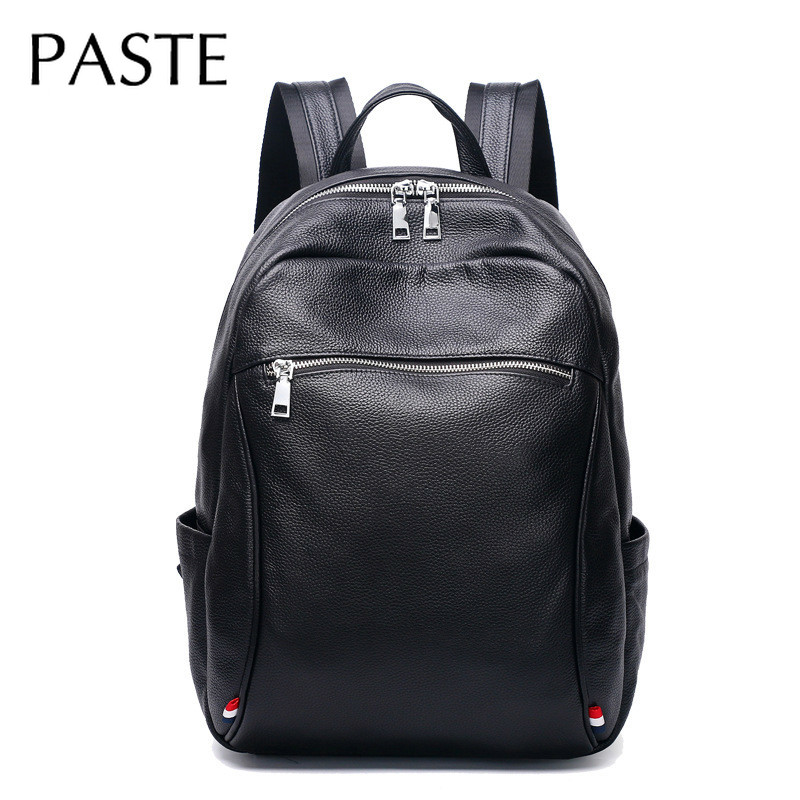 2019 Black Fashion Genuine Cow Leather Men's Backpack Male Laptop Man Business Bagpack High Quality Shool Bags For Teenager Boys