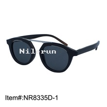 Handmade small round metal buffalo horn sunglasses