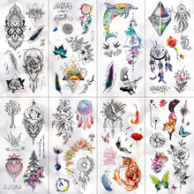 Ловец снов Роза Дельфин лиса водонепроницаемый временная татуировка наклейка линия цветок Вспышка татуировки боди-арт поддельная татуировка на руку женщины