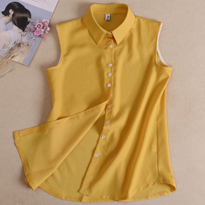 Summer Spring Summer Slim Shirt Women's Ornament Chiffon Collar Ladies Wild Sleeveless Shirt Joker Simple Shirt Collar Long