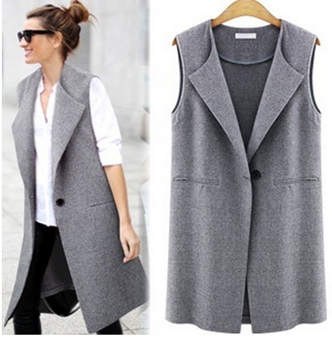 Fashion 2016 office lady Elegant jackets Vests For Women Sleeveless black Long Outerwear Casual brand  feminino Autumn coats
