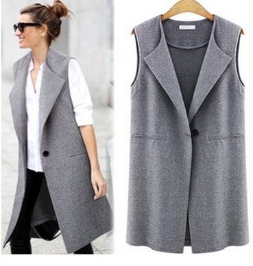 Moda 2016 senhora do escritório Elegante casacos Coletes Para As Mulheres Sem Mangas preto Longo Outerwear Casual feminino marca casacos de Outono