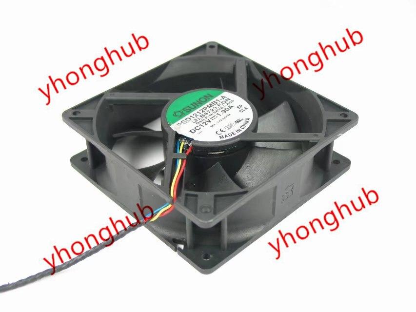 SUNON PSD1212PMB1-A (2).B4723.F.GN Server Square Fan DC12V 1.90A 120x120x38mm 4-wire free shipping for sunon eg50040v1 c06c s9a dc 5v 2 00w 8 wire 8 pin server laptop fan