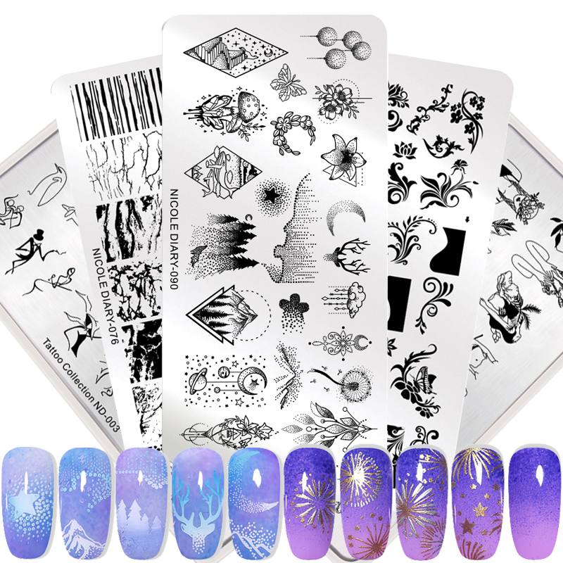 Nail Stamping Templates Stencil-Tools Flower Marble Lace Geometric Manicure-Printing