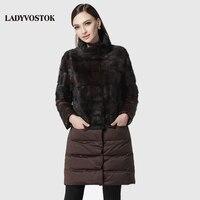 LADYVOSTOK Splice Removable Collar Long Coat Warm Winter Mink Fur Coat Real Fur Vest Genuine Fur