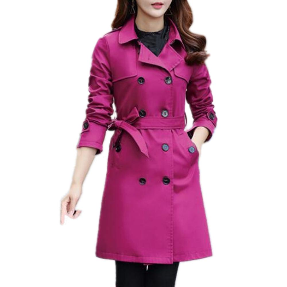 Women Spring Autumn   Trench   Coat with Belt Women Long Sleeves Turn-down Collar Double Breasted Coat Overcoat Women Slim Outwear
