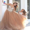 Luxo Champagne Prom Vestidos Longos de Tule Cristais Sweetheart Frisada Off The Shoulder Vestido De Festa