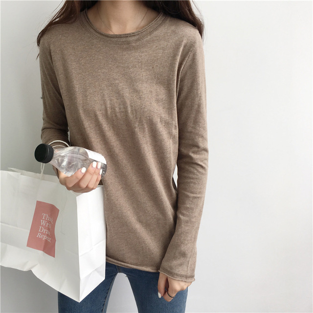 2549b2ca7994 Basic Distressed Marl Tops Tees Women Raw Unfinished Long Sleeve Cotton  Essential T Shirts Layering