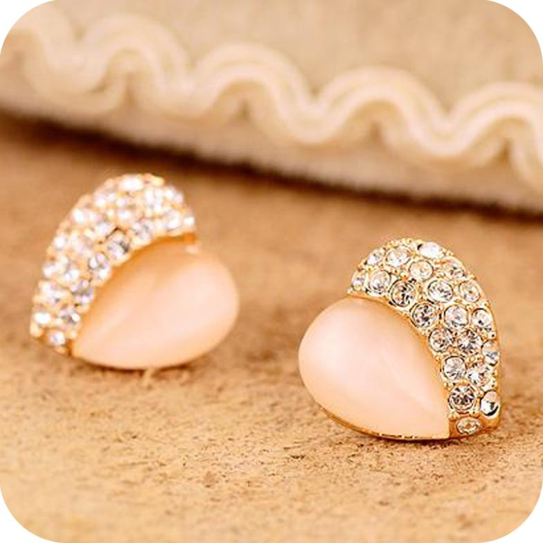 Promotion High Quality New Arrival Fashion Trendy Opal Heart Rhinestone Stud Earrings E128 In From Jewelry Accessories On Aliexpress