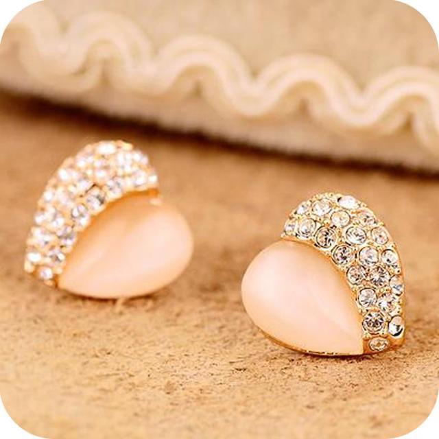 Promotion High Quality New Arrival Fashion Trendy Opal Heart Rhinestone Stud Earrings E128
